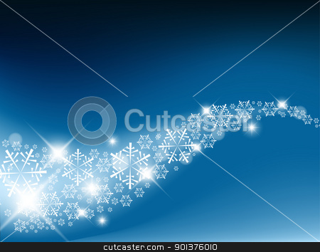 Blue Abstract Christmas background stock vector clipart, Blue Abstract Christmas background with white snowflakes by orson