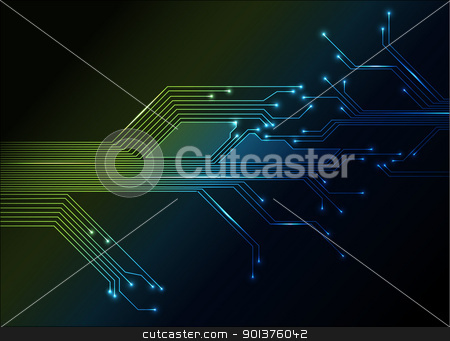 electronic circuit abstract background stock vector clipart, electronic circuit abstract green and blue background by orson