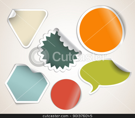 Retro colored labels badges and stickers stock vector clipart, Set of labels badges and stickers with retro colors by orson