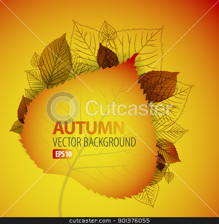 Autumn abstract floral background  stock vector clipart, Autumn abstract floral background with place for your text by orson