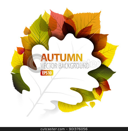 Autumn vector abstract floral background  stock vector clipart, Autumn vector abstract floral background with place for your text by orson