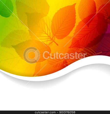 Autumn abstract rainbow floral background  stock vector clipart, Fall abstract rainbow floral background with place for your text by orson