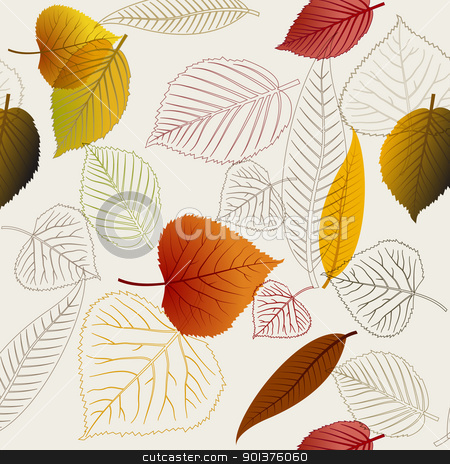 Autumn vector leafs texture stock vector clipart, Autumn vector leafs texture - fall seamless pattern by orson