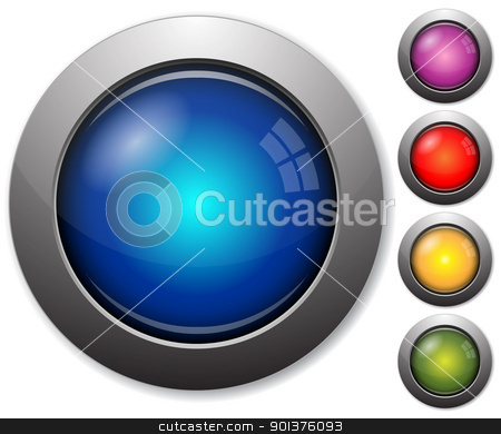Colorful glass buttons stock vector clipart, Colorful glass buttons with metal borders on white background by orson