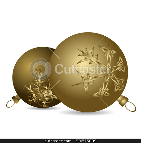 Golden Christmas bulbs  stock vector clipart, Golden Christmas bulbs with snowflakes ornaments on a white background by orson