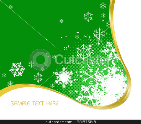 Christmas background  stock vector clipart, Christmas background with snowflakes and golden ribbon  by orson