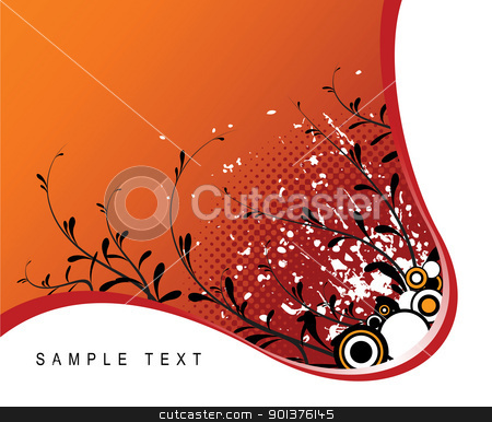 Abstract grunge floral background  stock vector clipart, Abstract grunge floral background with place for your text by orson