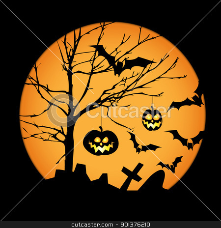 Halloween illustration  stock vector clipart, Halloween illustration with pumpkins, bats and big moon by orson
