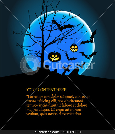 Halloween illustration with pumpkins, bats and big moon stock vector clipart, Halloween illustration with pumpkins, bats, big moon and place for your content by orson
