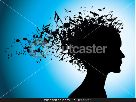 Musical woman portrait silhouette with notes  stock vector clipart, Woman portrait silhouette with notes as hair  by orson