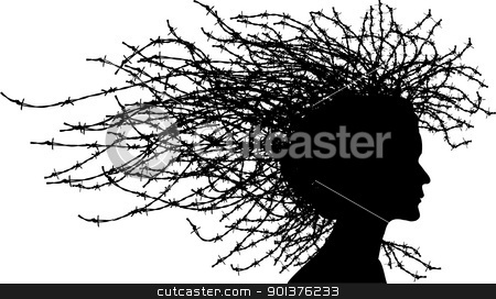 Woman head stock vector clipart, Woman head with hair from barbed wires  by orson