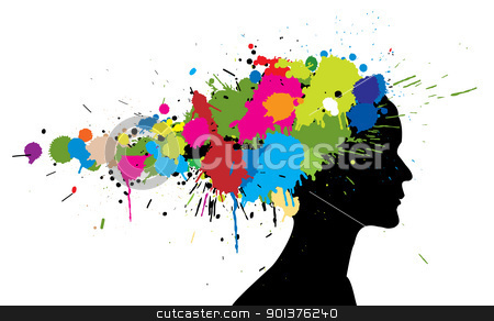 Grunge girl silhouette  stock vector clipart, Grunge girl silhouette made from colorful spatters by orson