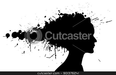 Grunge girl silhouette stock vector clipart, Grunge girl silhouette made from spatters by orson