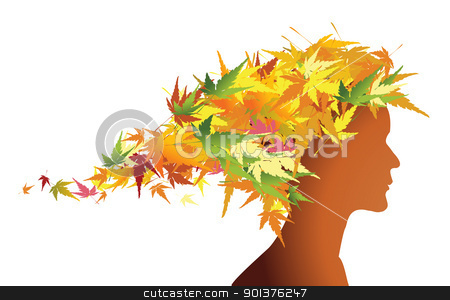 Autumn floral girl silhouette stock vector clipart, Autumn floral girl silhouette (with hairs from colorful leafs) by orson