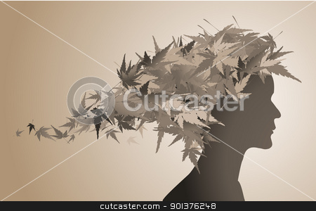 Autumn floral girl silhouette stock vector clipart, Autumn floral girl silhouette (with hairs from leafs)  by orson
