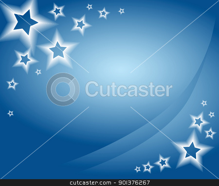 Blue christmas background / card stock vector clipart, Blue christmas background / card with stars by orson