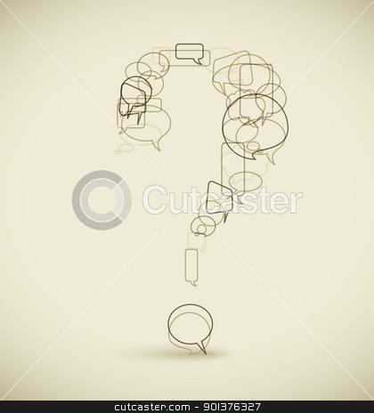 Question mark made from blue speech bubbles stock vector clipart, Question mark made from blue speech bubbles - grunge version by orson