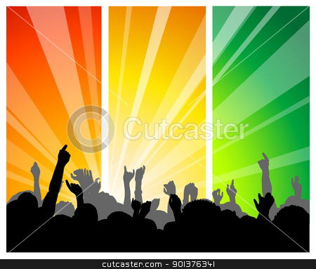 People at the concert stock vector clipart, People at the concert - with colorful background by orson