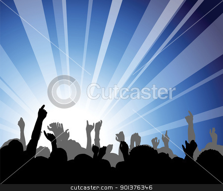 People at the concert stock vector clipart, People at the concert - heads and hands on blue background by orson