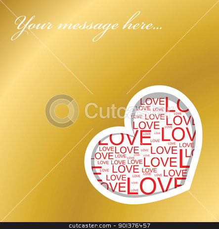 Golden love card stock vector clipart, Golden love card with heart and place for your text by orson
