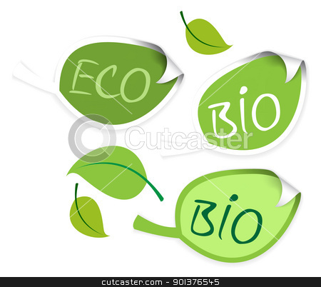 Set of leaf labels  stock vector clipart, Set of leaf labels for organic, fresh, healthy, bio food by orson