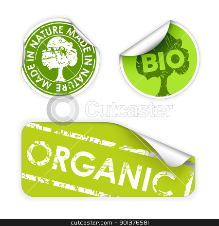Set of labels with stamps for organic stock vector clipart, Set of labels with stamps for organic, fresh, healthy, bio food by orson