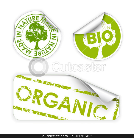 Set of bio / eco / organic labels stock vector clipart, Set of labels with stamps for organic, fresh, healthy, bio food by orson