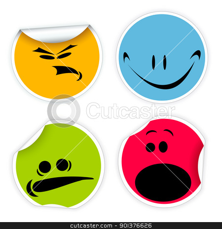 Labels with various smiles stock vector clipart, Set of colorful labels with various smiles  by orson