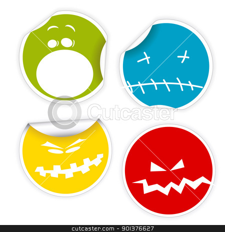 Set of Halloween smiles labels stock vector clipart, Set of colorful Halloween labels with various smiles by orson