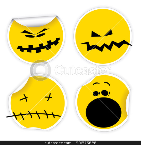 Set of Halloween yellow smiles labels stock vector clipart, Set of Halloween yellow labels with various smiles by orson