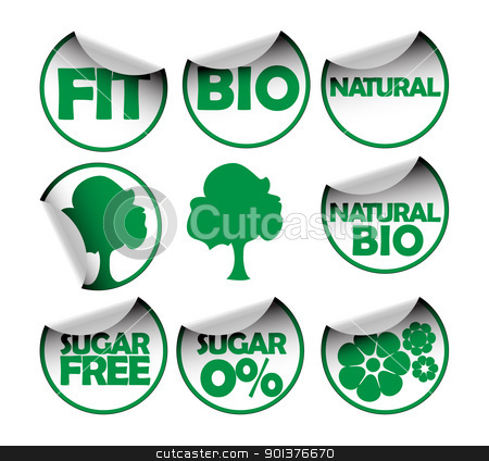 Set of labels for healthy food stock vector clipart, Set of labels for organic, fresh, healthy, bio food by orson