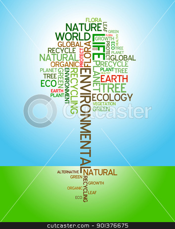 Ecology - environmental poster  stock vector clipart, Ecology - environmental poster made from words in the shape of green tree by orson