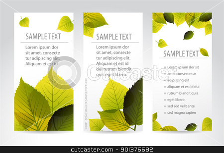 Fresh natural vertical banners with leafs stock vector clipart, Fresh natural vertical banners with leafs and sample text by orson
