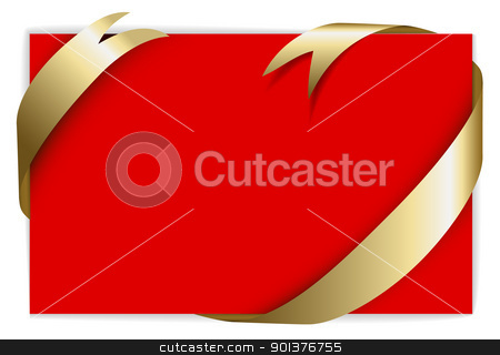 Christmas or wedding card stock vector clipart, Christmas or wedding card - Golden ribbon around blank red paper,  where you should write your text