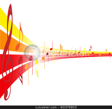 vector clipart, Music theme - notes on yellow, orange and red lines by