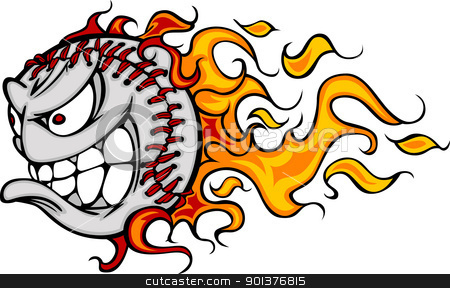 Flaming Baseball or Softball Face Vector Cartoon stock vector clipart, Cartoon Vector Image of a Flaming Baseball with Angry Face by chromaco