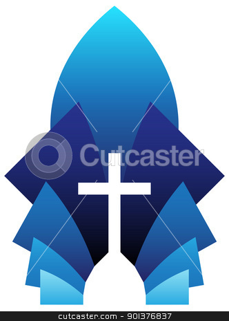 Blue Cross stock vector clipart, Vector illustration of blue cross symbol, emblem of Christianity by HypnoCreative