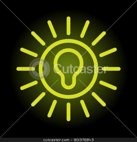 Green Bulb Icon stock vector clipart, Simple and elegant green bulb icon on black enlightened background by HypnoCreative