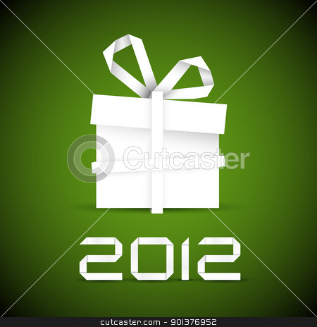 Simple vector christmas gift made from paper stock vector clipart, Simple vector christmas gift made from white paper stripe - original new year card by orson