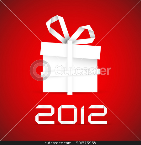 Simple vector christmas gift made from paper stock vector clipart, Simple vector christmas gift made from white paper stripe on red - original new year card by orson