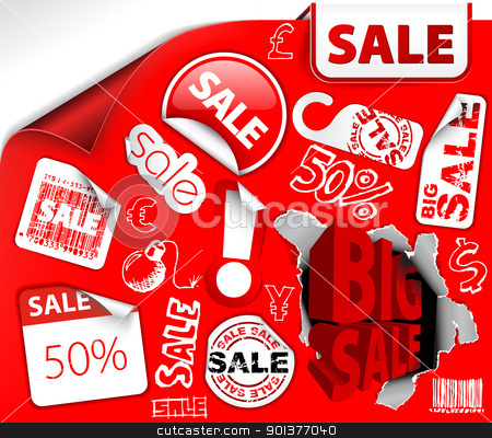 Set of red discount tickets, labels, stamps stock vector clipart, Set