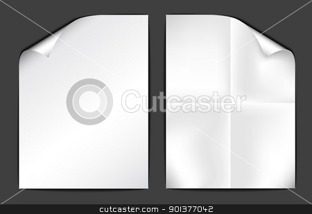 Two sheets of white paper on dark background stock vector clipart, Two sheets of white paper on dark background (vector illustration) by orson