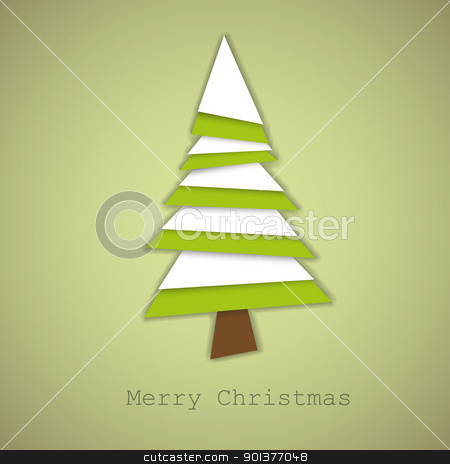 Simple vector christmas tree made from green and white paper stock vector clipart, Simple vector christmas tree made from green and white pieces of paper - original new year card by orson