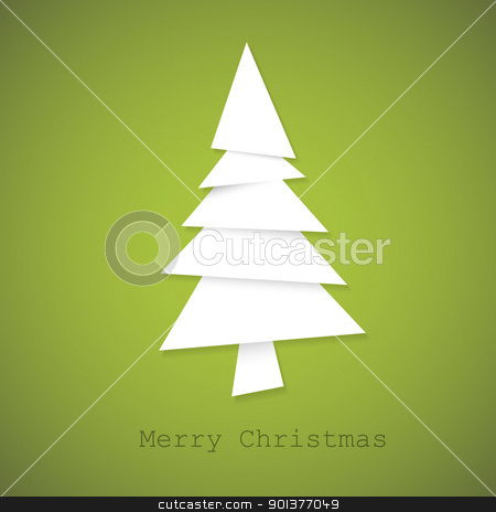 Simple vector christmas tree made from pieces of paper stock vector clipart, Simple vector christmas tree made from pieces of white paper - original new year card by orson