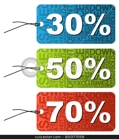 Set of paper tags for sale stock vector clipart, Set of paper tags for sale, discount, price reduction  by orson