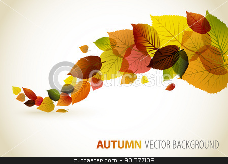 Fall abstract floral background stock vector clipart, Autumn abstract floral background with place for your text by orson