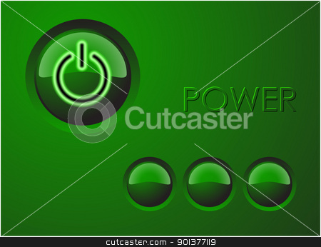 Power button  stock vector clipart, Power button with three others buttons - green version by orson