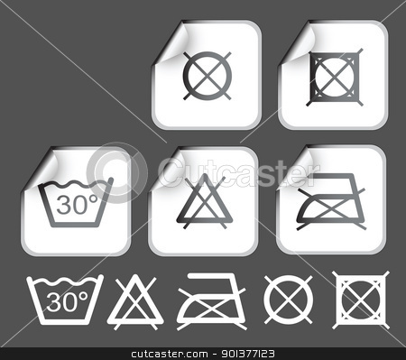 Labels wish washing symbols stock vector clipart, Labels badges and stickers with washing / textile symbols by orson