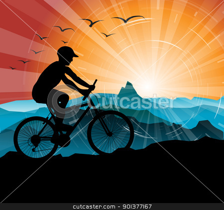 Silhouette of the biker stock vector clipart, Silhouette of the biker, with mountains and sunset in the background by orson