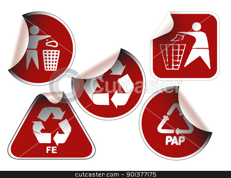 Set of dark red labels stock vector clipart, Set of dark red labels badges and stickers with recycle icons by orson
